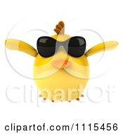 Clipart 3d Chubby Yellow Bird Chicken Wearing Sunglasses And Flying 1 Royalty Free CGI Illustration