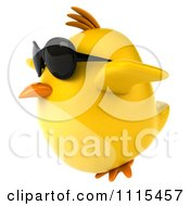 Clipart 3d Chubby Yellow Bird Chicken Wearing Sunglasses And Flying 2 Royalty Free CGI Illustration