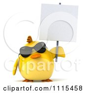 Clipart 3d Chubby Yellow Bird Chicken Wearing Sunglasses And Holding A Sign 1 Royalty Free CGI Illustration