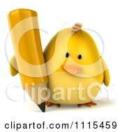 Clipart 3d Chubby Yellow Bird Chicken Writing With A Pencil 1 Royalty Free CGI Illustration