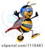 Clipart 3d Super Hero Bee Jumping Royalty Free CGI Illustration by Julos
