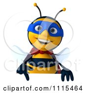 Clipart 3d Super Hero Bee Pointing Down At A Sign Royalty Free CGI Illustration
