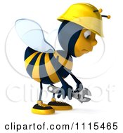 Clipart 3d Sad Construction Worker Bee Holding A Wrench Royalty Free CGI Illustration