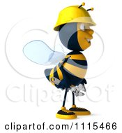 Clipart 3d Construction Worker Bee Holding A Wrench Royalty Free CGI Illustration