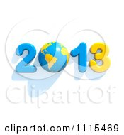 Clipart 3d Blue And Yellow Year 2013 With A Globe Royalty Free CGI Illustration