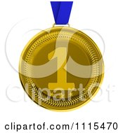 Clipart 3d First Place Gold Award Medal On A Blue Ribbon Royalty Free CGI Illustration
