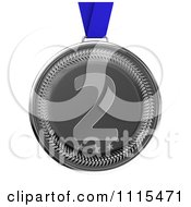 Clipart 3d Third Place Bronze Award Medal On A Blue Ribbon Royalty Free CGI Illustration