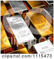 Clipart 3d Gold And Silver Bars Royalty Free CGI Illustration