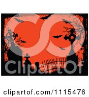 Clipart Grungy Black And Orange Halloween Cemetery Frame Royalty Free Vector Illustration