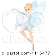 Cartoon Beautiful Blond Tooth Fairy Flicking Her Wand And Carrying A Molar