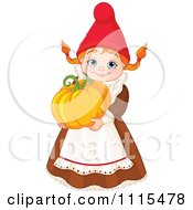 Cartoon Cute Female Garden Gnome Carrying A Pumpkin Royalty Free Vector Clipart