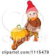 Cartoon Cute Male Garden Gnome Puahing A Pumpkin In A Wheelbarrow Royalty Free Vector Clipart