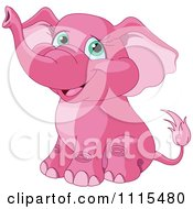 Cartoon Cute Pink Elephant Sitting Royalty Free Vector Clipart by Pushkin