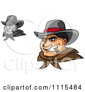 Clipart Grayscale And Colored Tough Wild West Cowboys Smoking Cigars Royalty Free Vector Illustration