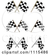 Clipart Crossed Checkered Racing Flags Royalty Free Vector Illustration