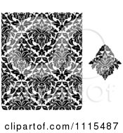 Clipart Damask Design And Black And White Pattern Royalty Free Vector Illustration