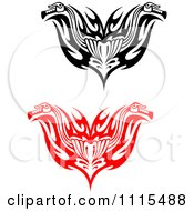 Clipart Red And Black Tribal Motorcycle Biker Handlebars Royalty Free Vector Illustration