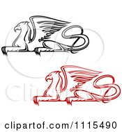 Clipart Red And Black Resting Griffins Royalty Free Vector Illustration