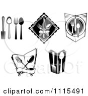Clipart Black And White Dining And Restaurant Silverware Logos Royalty Free Vector Illustration