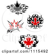 Black And Red Tribal Maple Leaves