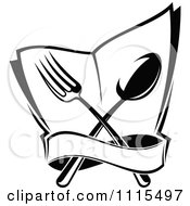 Clipart Black And White Dining And Restaurant Silverware Menu Logo 3 Royalty Free Vector Illustration by Vector Tradition SM