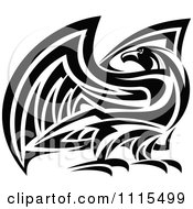 Clipart Tribal Black And White Falcon Eagle Or Hawk Royalty Free Vector Illustration
