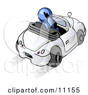 Blue Businessman Talking On A Cell Phone While Driving In A White Convertible Car Clipart Illustration