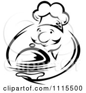 Clipart Black And White Chef Serving A Platter Royalty Free Vector Illustration by Seamartini Graphics