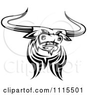 Clipart Black And White Tribal Texas Longhorn Steer Bull 4 Royalty Free Vector Illustration