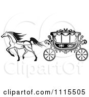 Clipart Black And White Horse And Romantic Wedding Carriage Royalty Free Vector Illustration