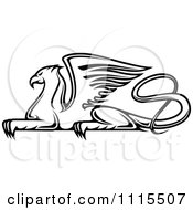 Clipart Black And White Resting Griffin Royalty Free Vector Illustration