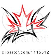 Black And Red Tribal Maple Leaf 2