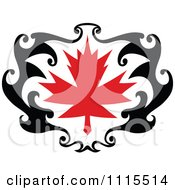 Clipart Black And Red Tribal Maple Leaf 3 Royalty Free Vector Illustration by Vector Tradition SM