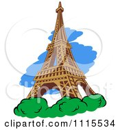 Clipart The Eiffel Tower With Shrubs And Blue Royalty Free Vector Illustration
