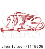 Clipart Red Resting Griffin Royalty Free Vector Illustration