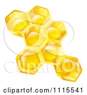 Clipart 3d Golden Honeycombs Royalty Free Vector Illustration