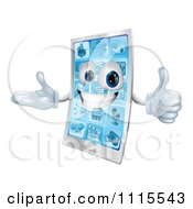 Clipart 3d Happy Cell Phone Mascot Holding A Thumb Up Royalty Free Vector Illustration