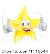 Clipart 3d Star Mascot Holding Two Thumbs Up Royalty Free Vector Illustration