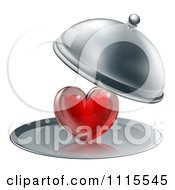Clipart 3d Cloche Revealing A Shiny Red Heart On A Platter Royalty Free Vector Illustration
