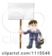 Clipart Happy Businessman Carrying A Briefcase And Holding A Sign Royalty Free Vector Illustration