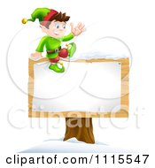 Clipart Waving Happy Christmas Elf Sitting On A Sign Royalty Free Vector Illustration by AtStockIllustration