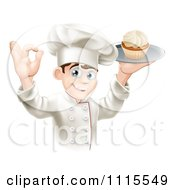 Clipart Pleased Chef Gesturing Ok And Holding A Platter With A Cupcake Royalty Free Vector Illustration by AtStockIllustration