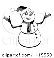 Clipart Black And White Happy Christmas Snowman Royalty Free Vector Illustration