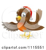 Clipart Cute Christmas Robin Pointing With A Wing Royalty Free Vector Illustration