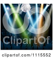 Clipart Disco Ball And Lights Shining On Silhouetted Hands In A Dance Floor Crowd Royalty Free Vector Illustration by AtStockIllustration