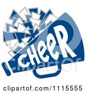 Clipart Cheerleader Pom Pom And Megaphone In Blue Tones Royalty Free Vector Illustration by Johnny Sajem #COLLC1115555-0090