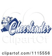 Clipart Blue Cheerleader Text With A Pom Pom And Megaphone Royalty Free Vector Illustration