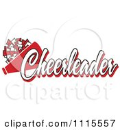 Clipart Red Cheerleader Text With A Pom Pom And Megaphone Royalty Free Vector Illustration