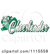 Clipart Green Cheerleader Text With A Pom Pom And Megaphone Royalty Free Vector Illustration