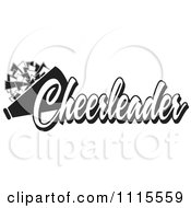 Clipart Black And White Cheerleader Text With A Pom Pom And Megaphone Royalty Free Vector Illustration